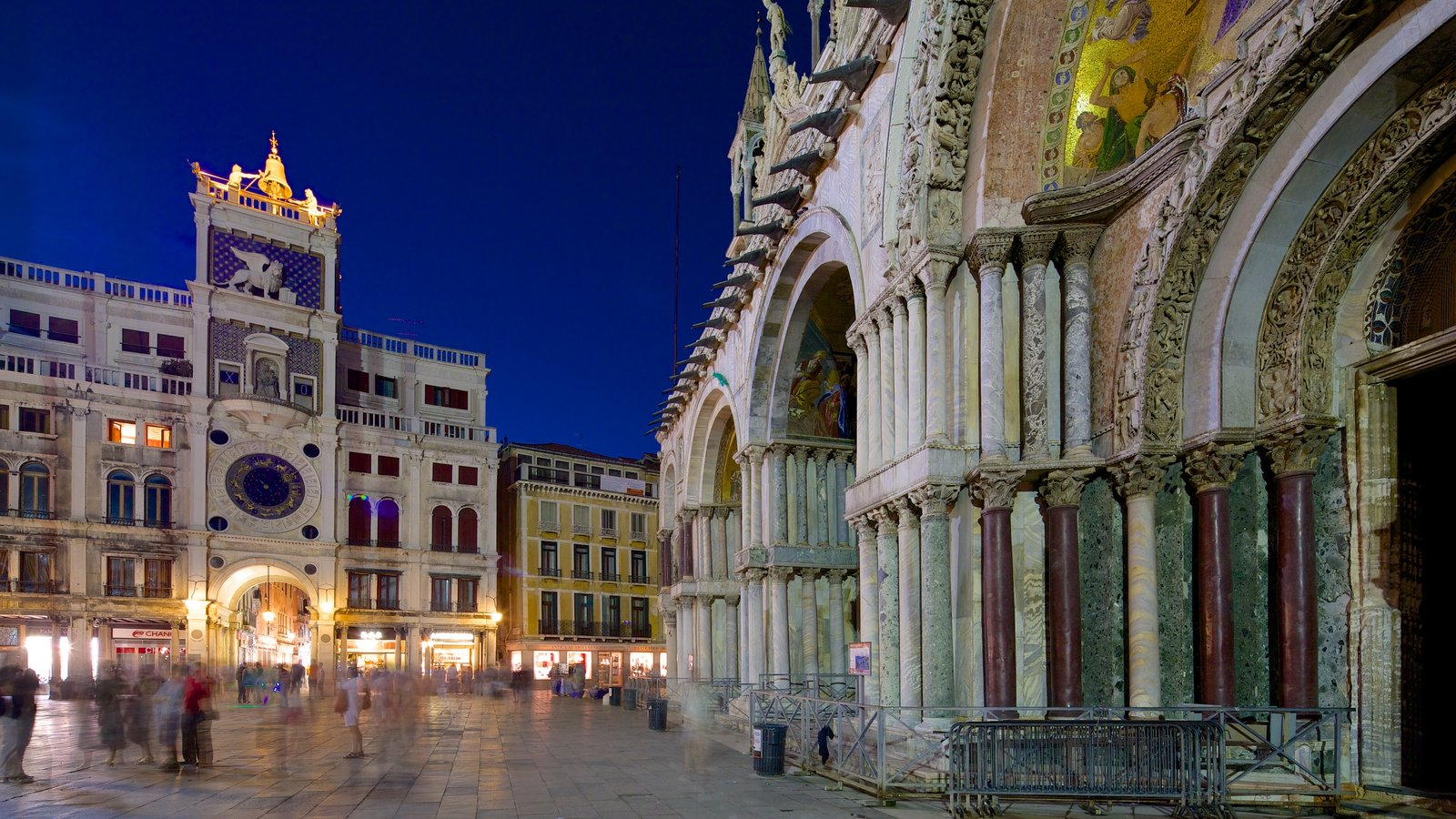 St. Mark\'s Basilica showing a square or plaza, night scenes and heritage architecture