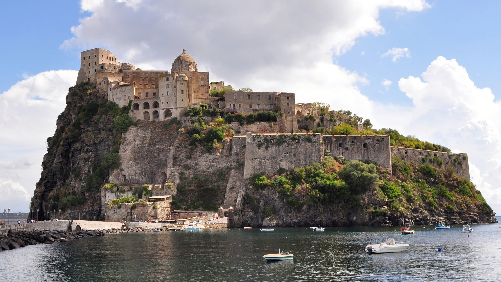 Ischia featuring chateau or palace, island views and heritage architecture