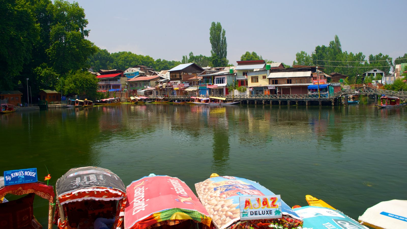 Srinagar which includes a lake or waterhole and a house