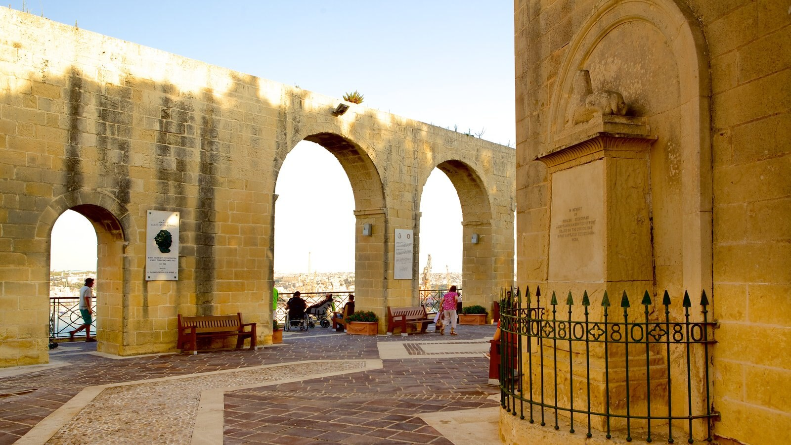 Jardins Superiores de Barrakka caracterizando arquitetura de patrimônio