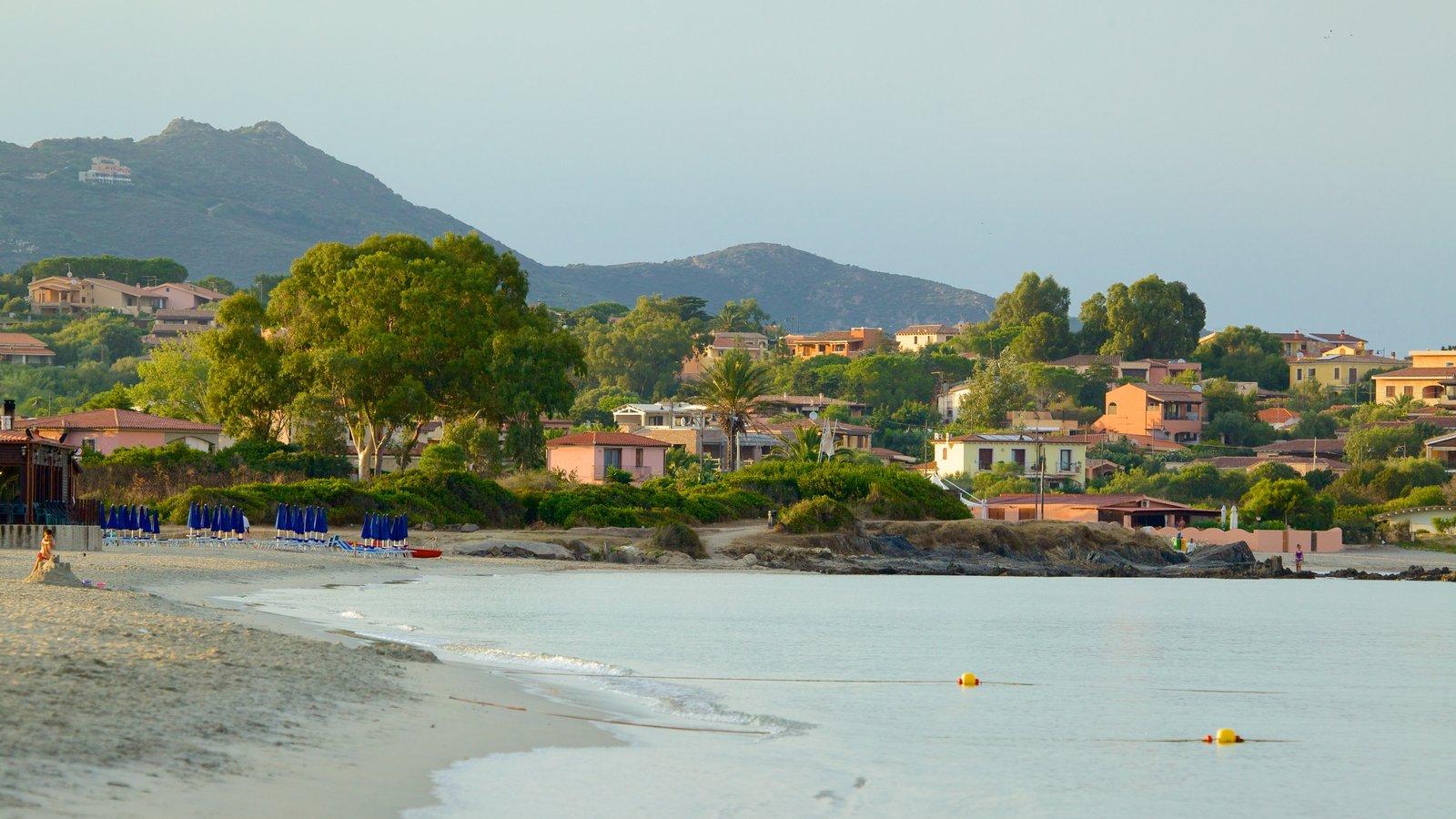 Pittulongu Beach which includes a sandy beach and a coastal town