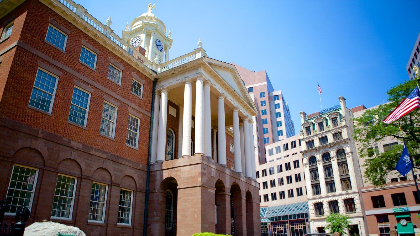 Hartford mostrando um edifício administrativo, arquitetura de patrimônio e uma cidade