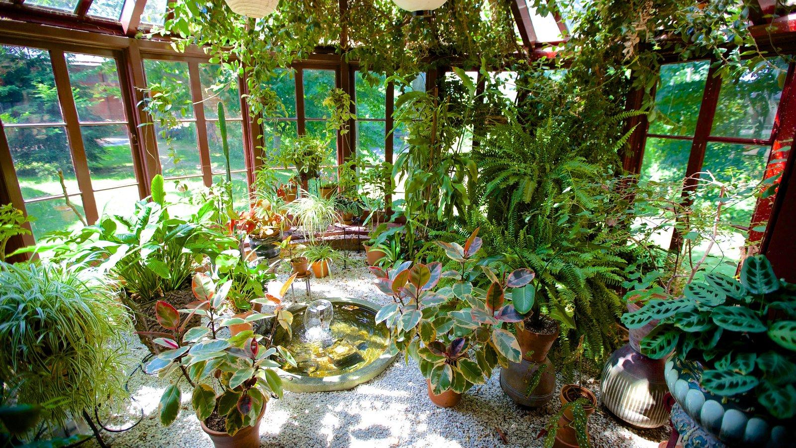Mark Twain House que incluye flores, un jardín y vistas interiores
