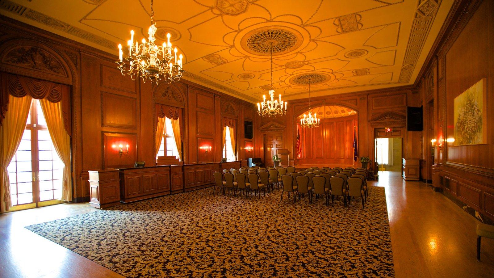 Bushnell Center for the Performing Arts mostrando arquitetura de patrimônio e vistas internas