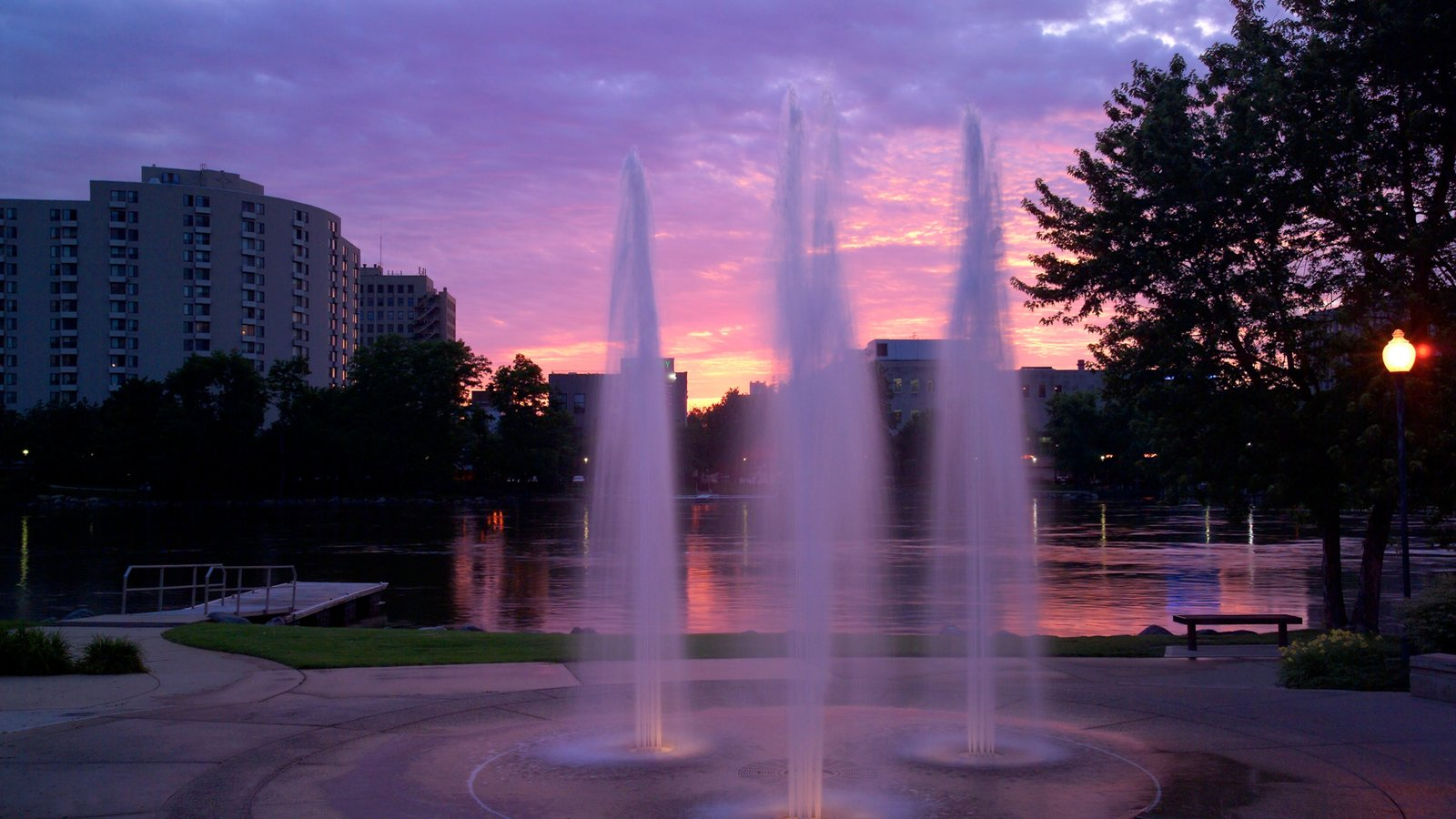 Rockford showing a fountain and a sunset