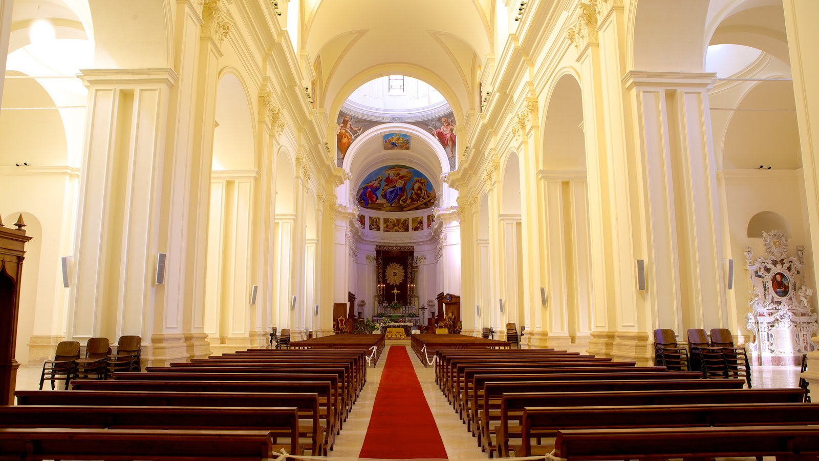 Cathedral of Noto featuring a church or cathedral, religious aspects and interior views