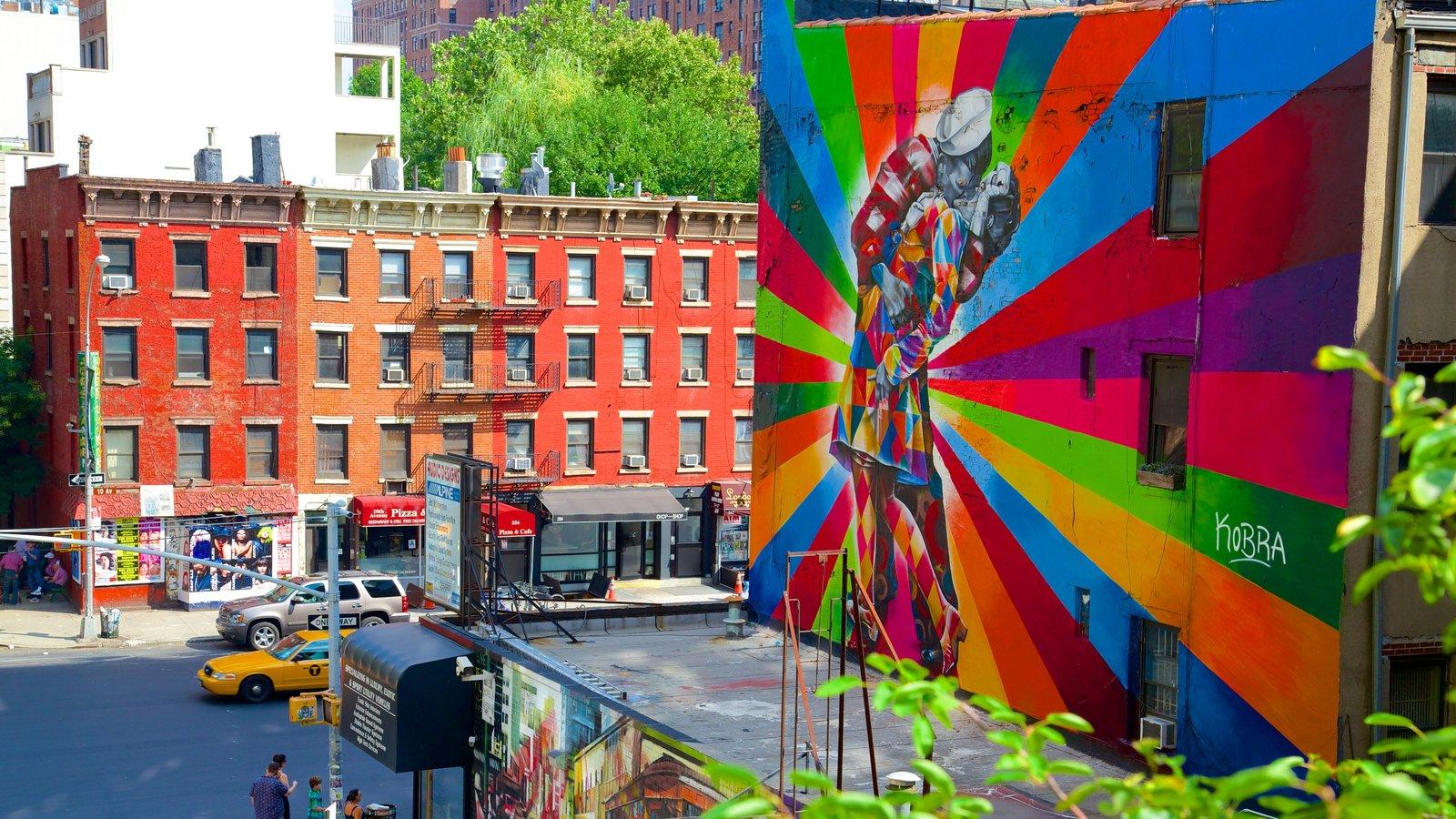 The High Line Park caracterizando arte ao ar livre e uma cidade