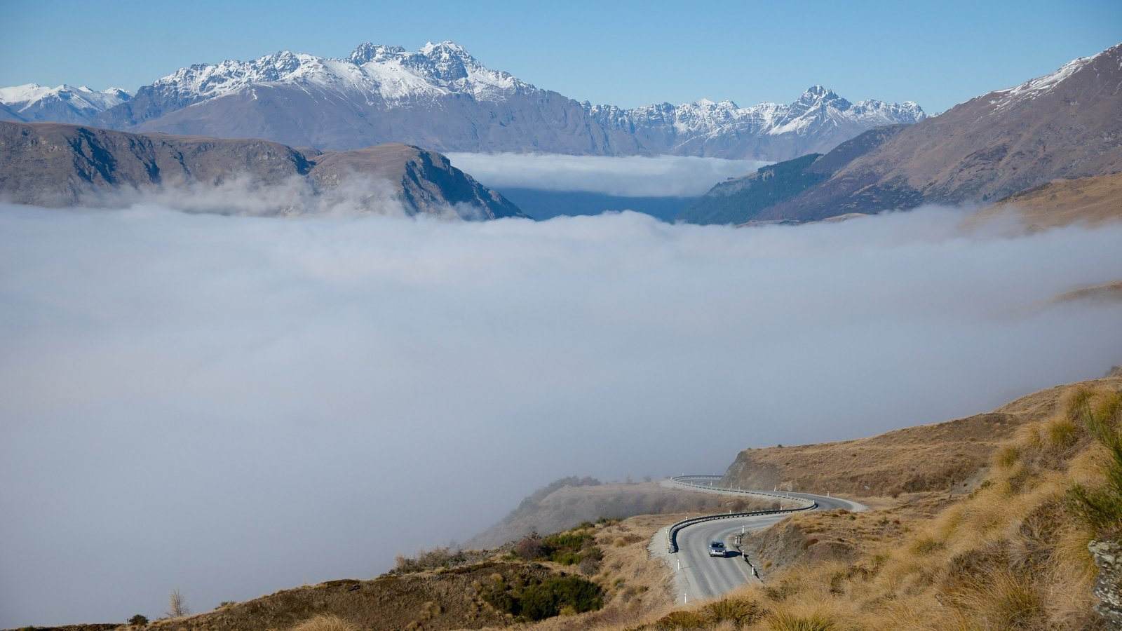 Queenstown featuring landscape views, mist or fog and mountains
