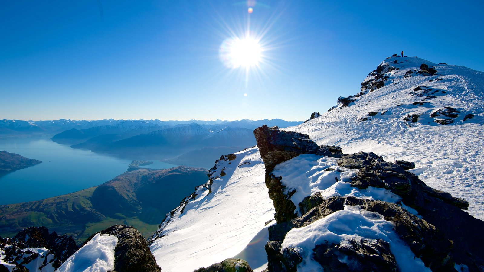 The Remarkables Ski Area featuring landscape views, a river or creek and snow