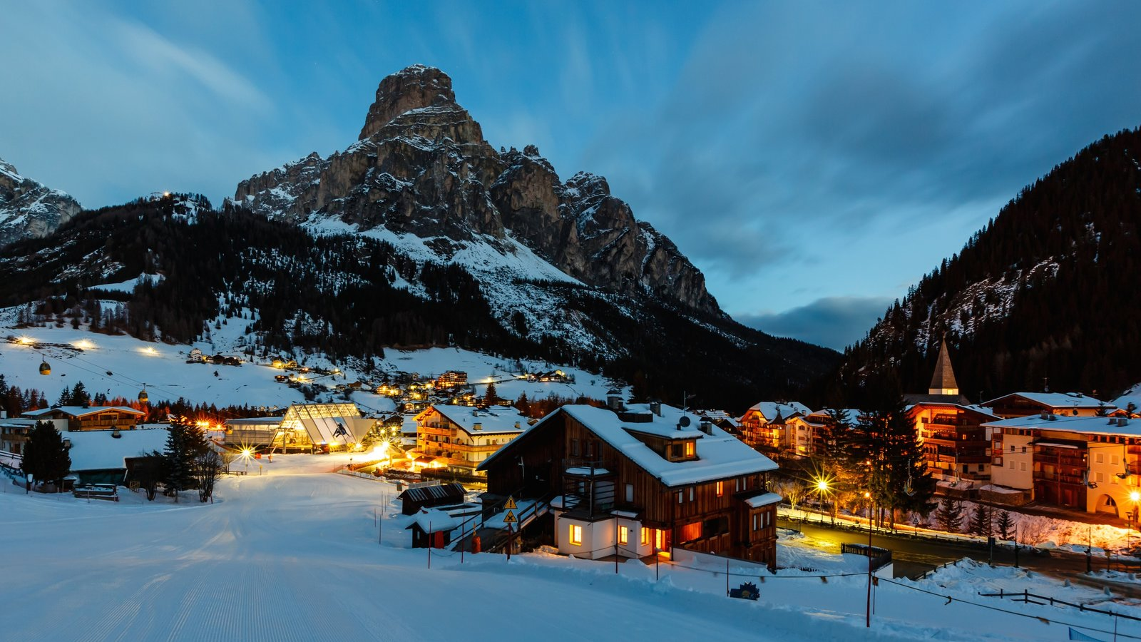 Trentino which includes a small town or village, landscape views and snow