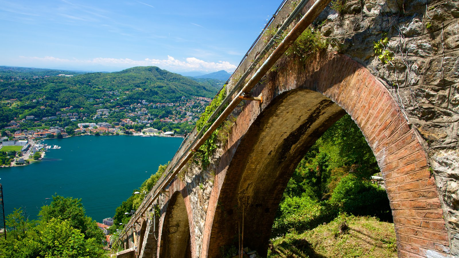 Como-Brunate Funicular which includes a bay or harbor and a bridge