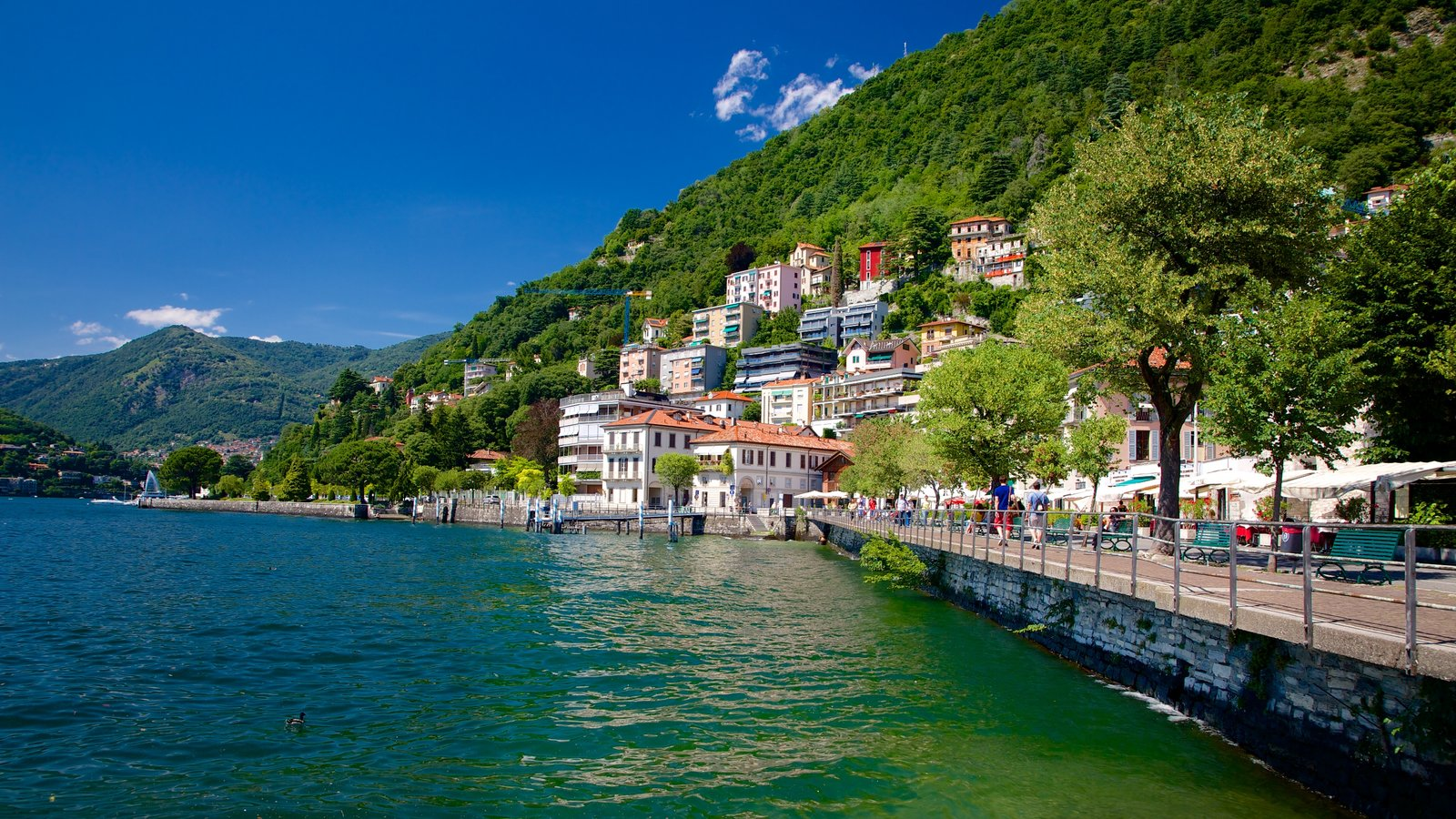 Como which includes a coastal town, a house and a bay or harbor