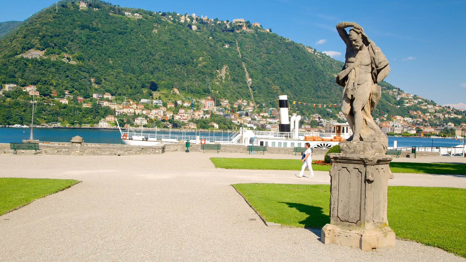 Villa Olmo which includes a statue or sculpture, a coastal town and mountains