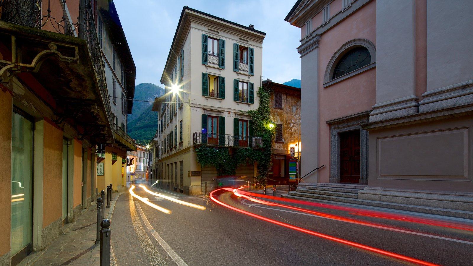 Menaggio which includes night scenes, street scenes and heritage architecture