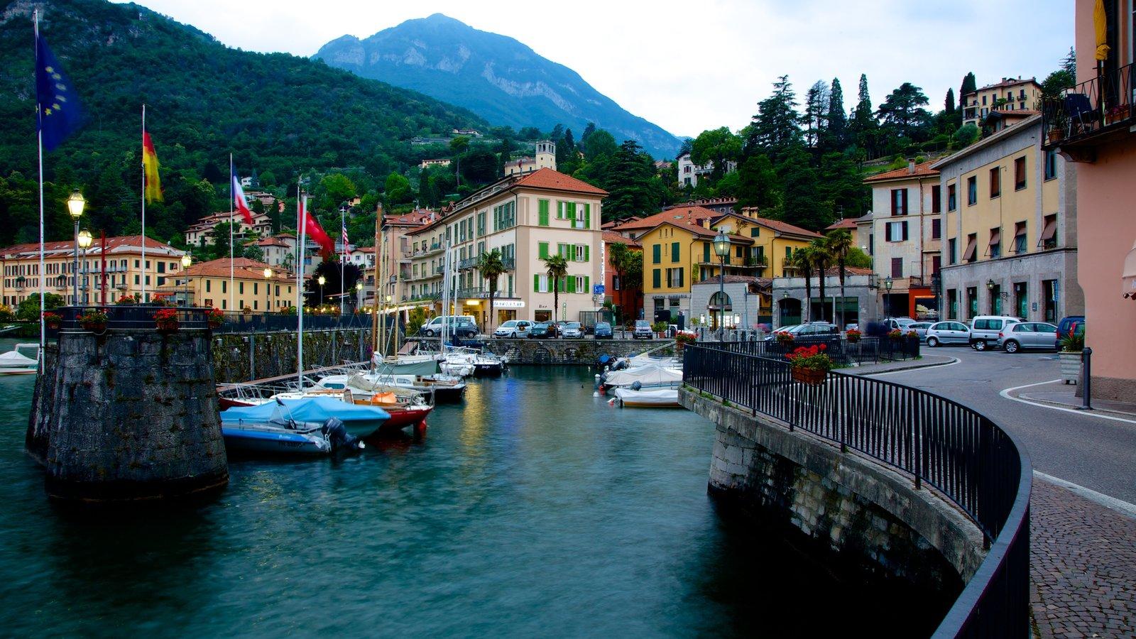 Menaggio showing a marina, general coastal views and a coastal town