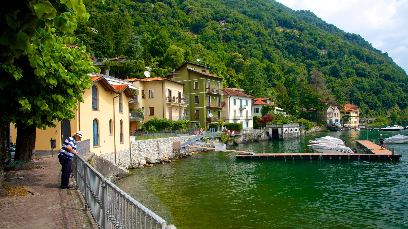 Argegno which includes a house, a marina and a coastal town