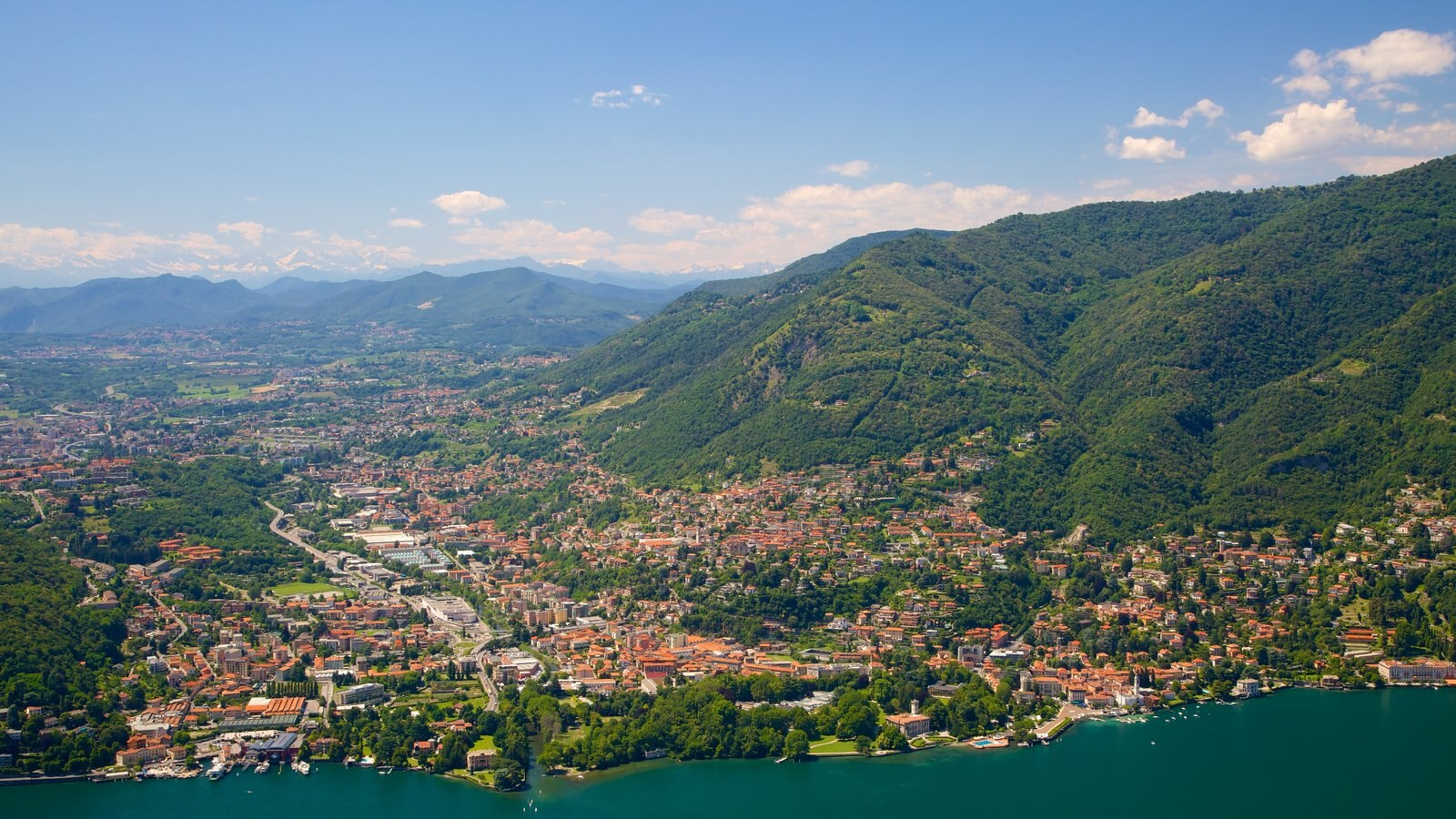 Como-Brunate Funicular featuring a city, a coastal town and mountains