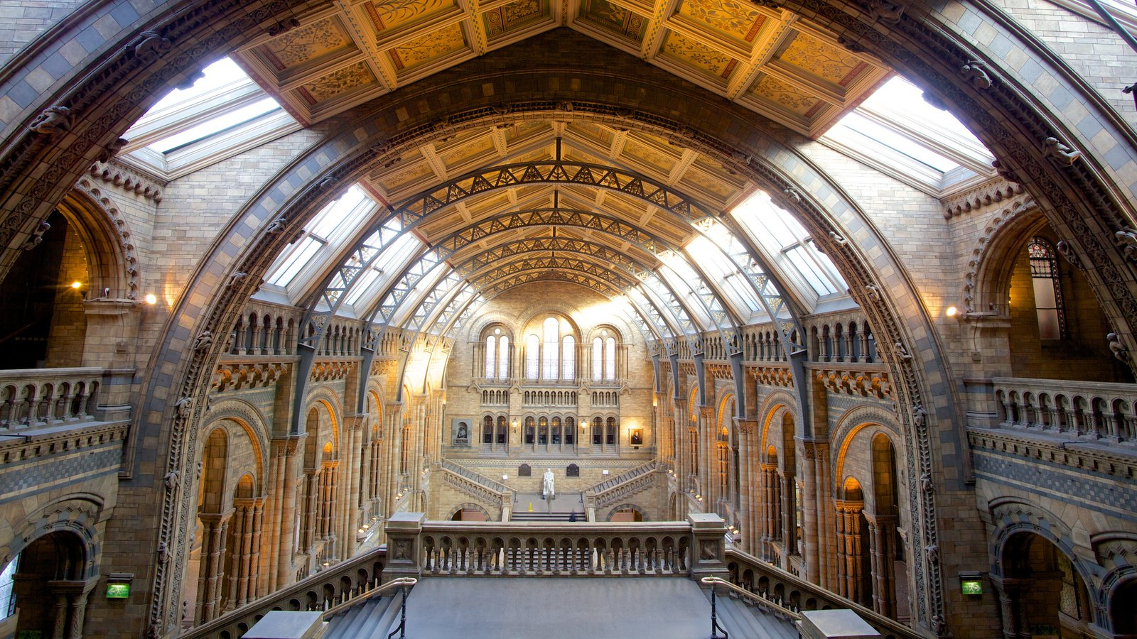 London Natural History Museum which includes interior views, heritage architecture and a church or cathedral