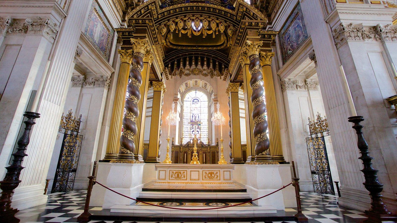St. Paul\'s Cathedral que inclui uma igreja ou catedral, vistas internas e aspectos religiosos