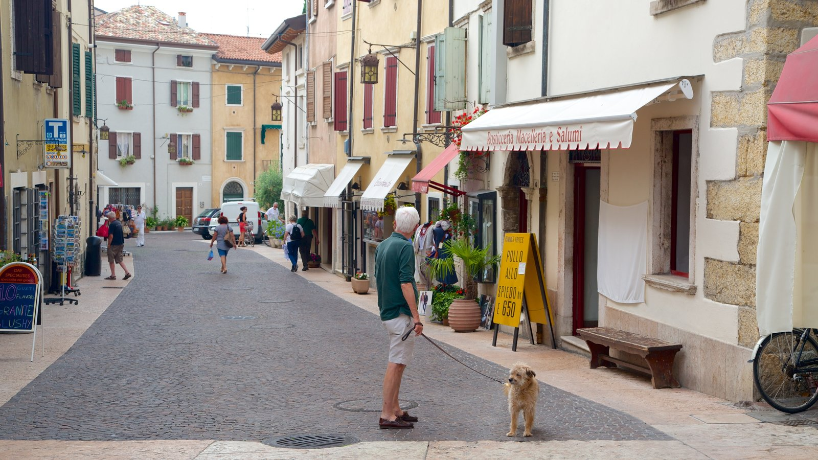 Lazise featuring street scenes as well as an individual male