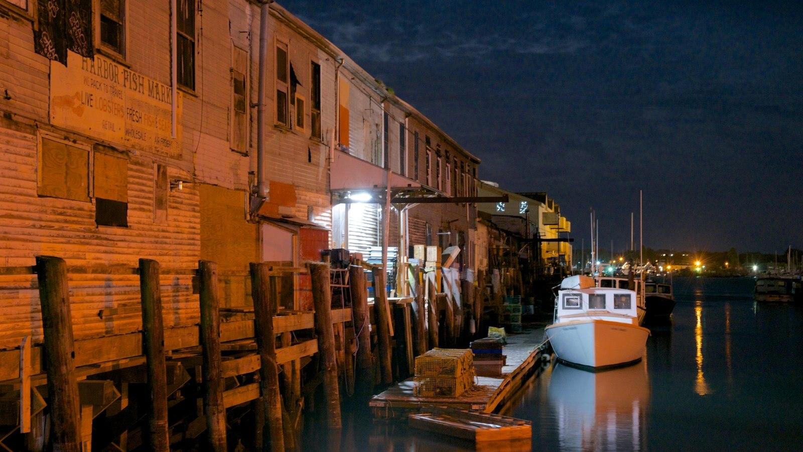 Maine mostrando uma baía ou porto e cenas noturnas