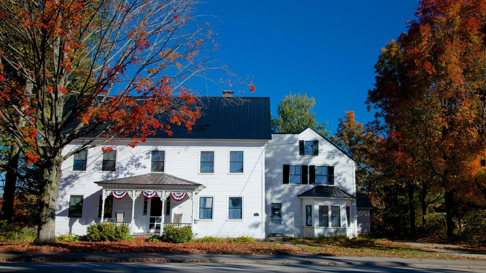 Conway mostrando folhas de outono e uma casa