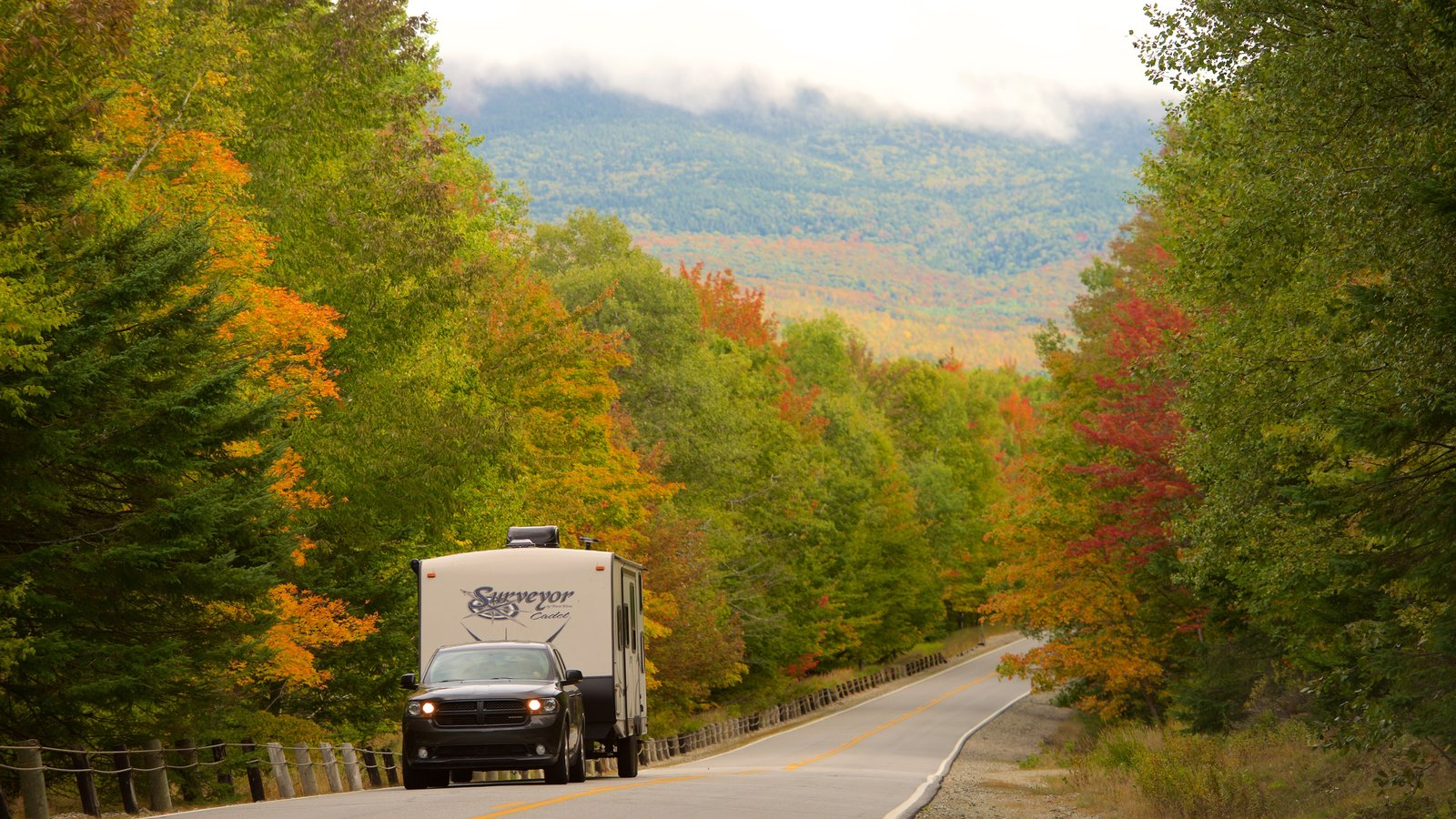 Maine which includes fall colors, tranquil scenes and forest scenes