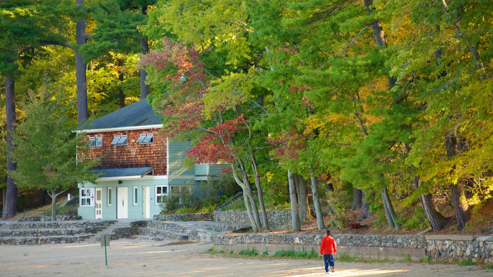 Walden Pond featuring a house as well as an individual male