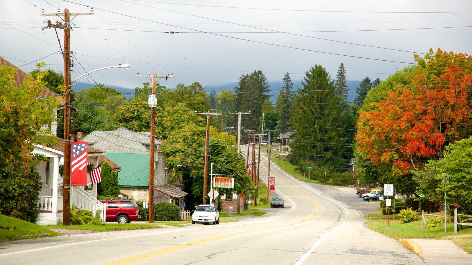 Sudoeste de Pensilvânia caracterizando cores do outono e uma cidade pequena ou vila