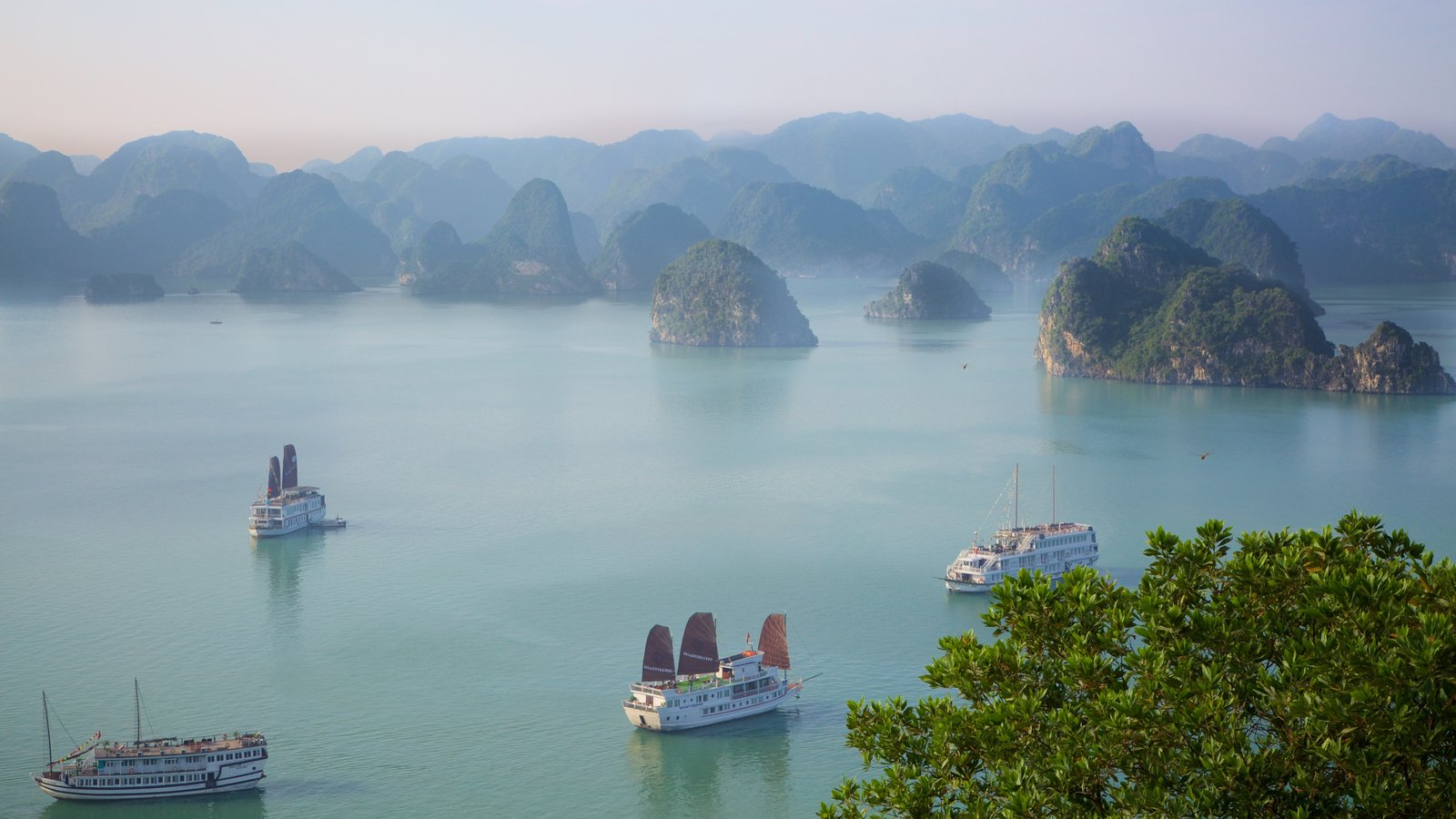 Halong Bay showing rugged coastline, general coastal views and cruising