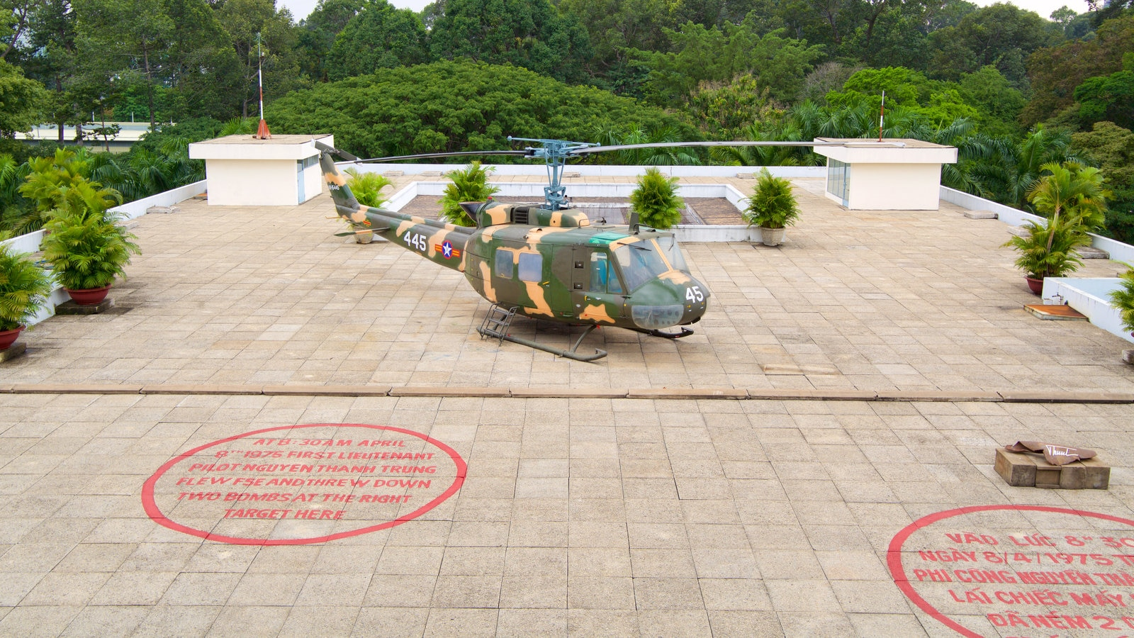 Reunification Palace which includes aircraft and military items