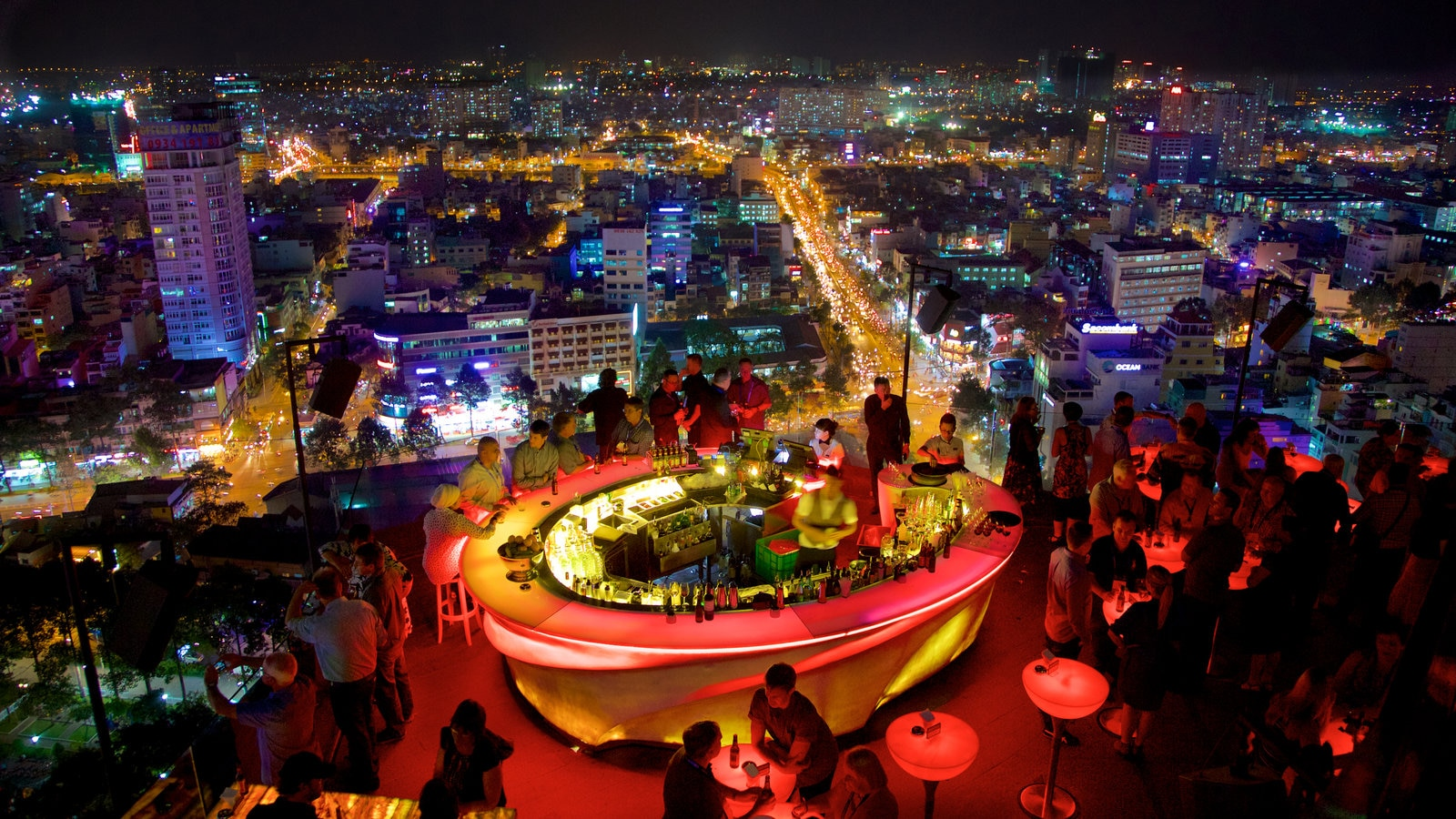 Ho Chi Minh City showing night scenes, a bar and a city