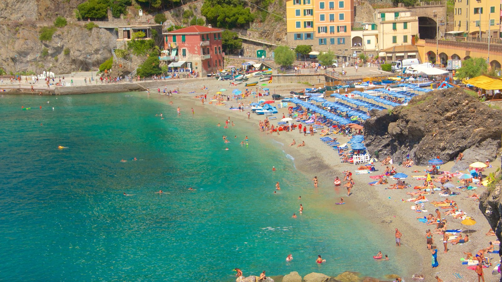 Monterosso Beach featuring a luxury hotel or resort, a sandy beach and general coastal views