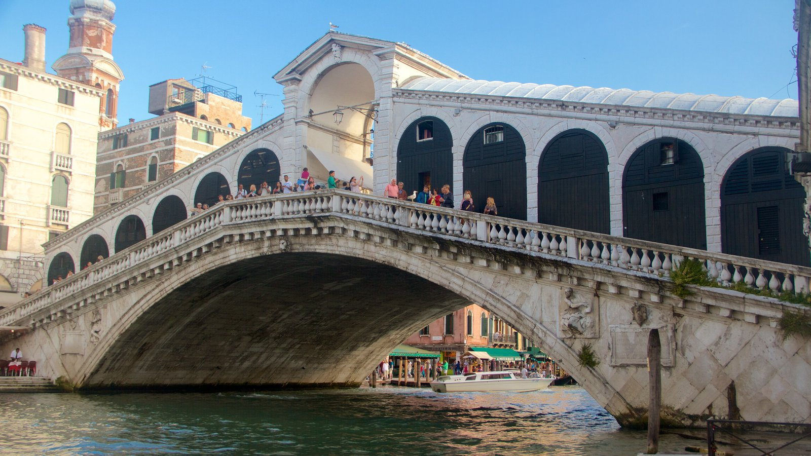 Rialto Bridge which includes a lake or waterhole, heritage architecture and a bridge