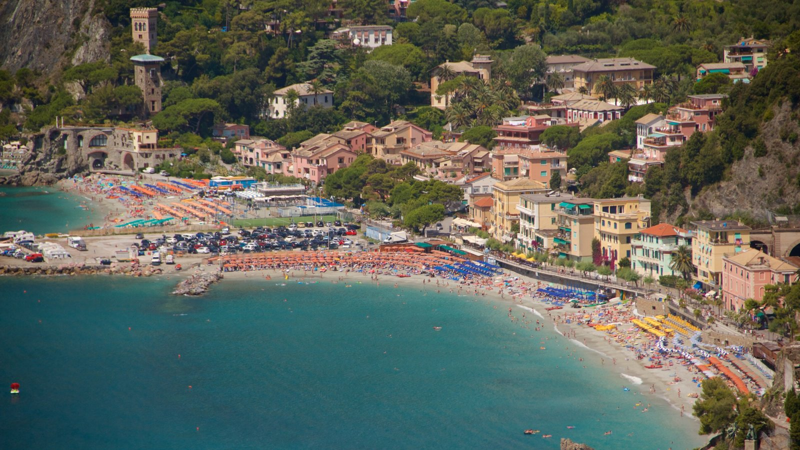 Monterosso Beach which includes general coastal views, a coastal town and a luxury hotel or resort
