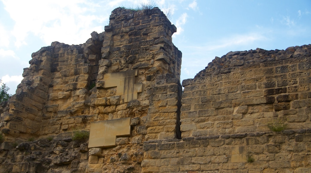 Castello di Valkenburg mostrando castello, oggetti d\'epoca e rovine