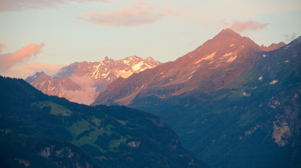 Bernese Alps which includes a sunset and mountains