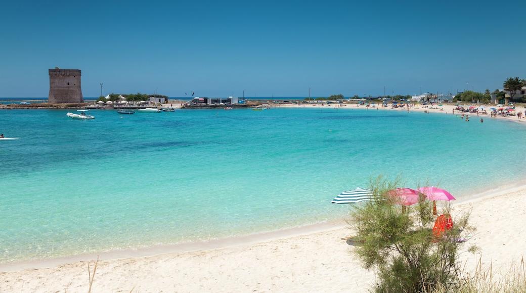 Porto Cesareo che include vista della costa, baia e porto e spiaggia sabbiosa
