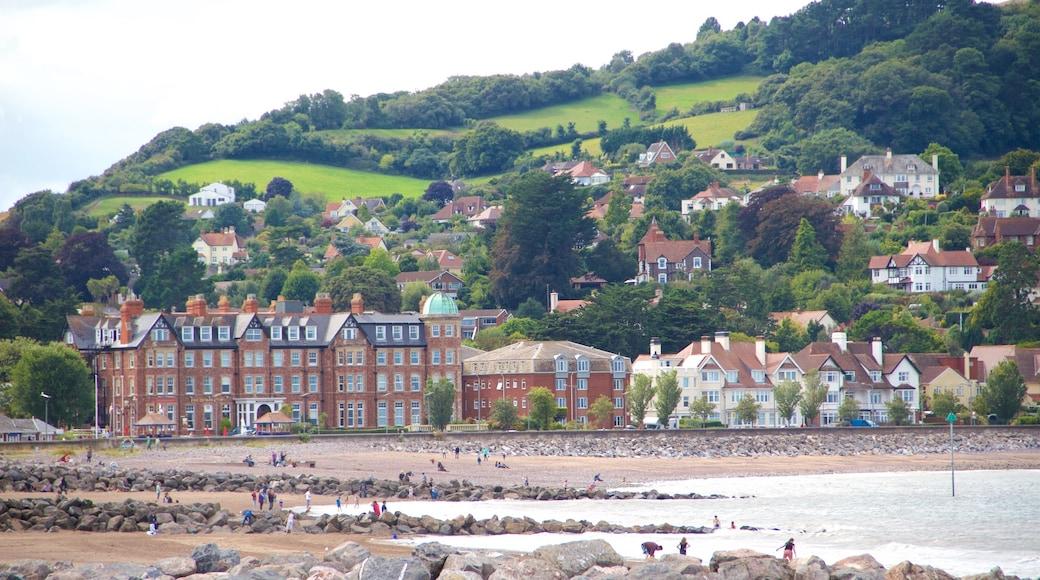 Minehead which includes a beach, a coastal town and general coastal views