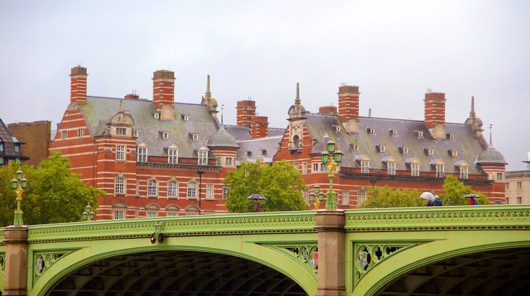Westminster Bridge showing a bridge and heritage architecture
