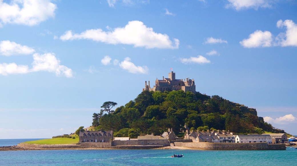 St. Michael\'s Mount which includes heritage elements, general coastal views and château or palace