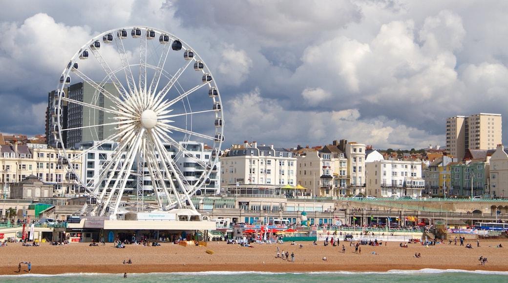 Brighton Wheel mit einem Küstenort, allgemeine Küstenansicht und Stadt