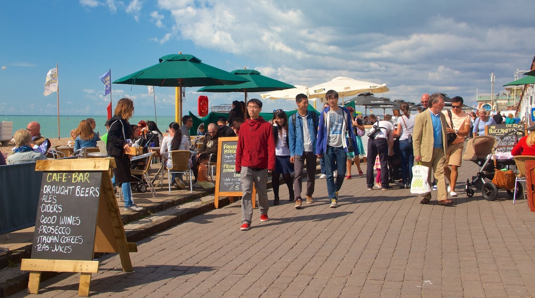 Brighton Beach featuring outdoor eating, general coastal views and signage