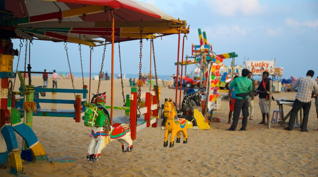 Elliot\'s Beach showing a playground and a sandy beach