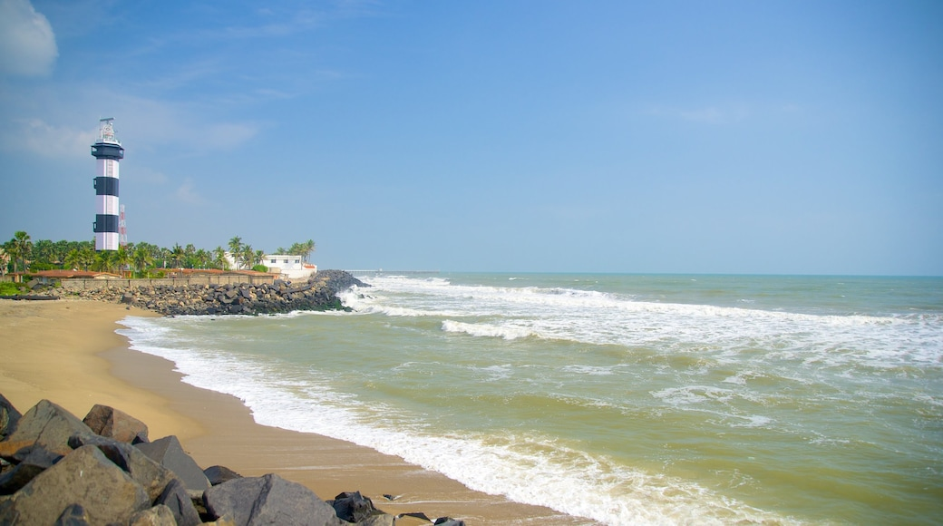 Pondicherry Lighthouse featuring a lighthouse and a beach