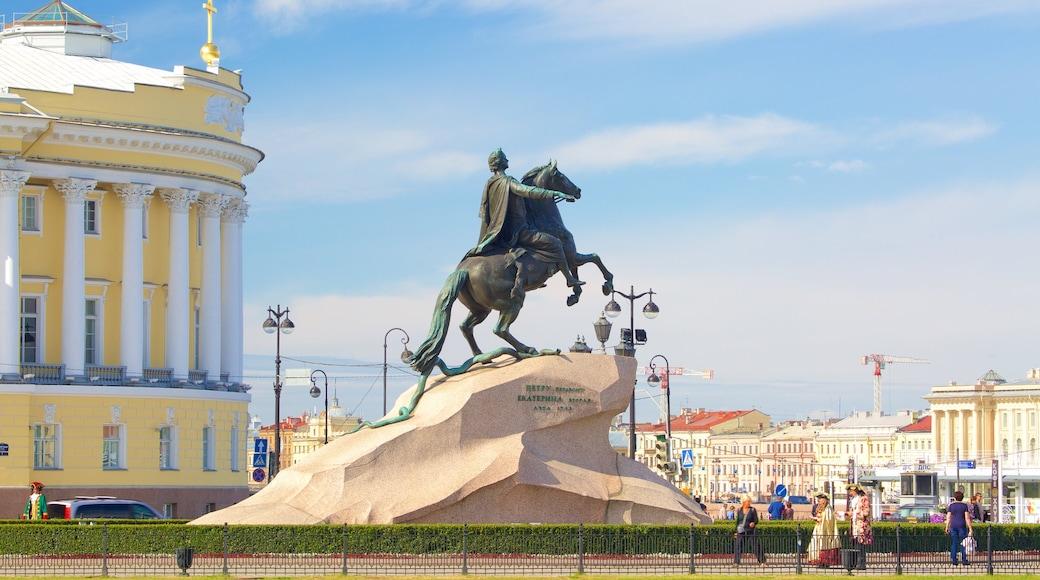 Bronsryttaren presenterar en staty eller skulptur