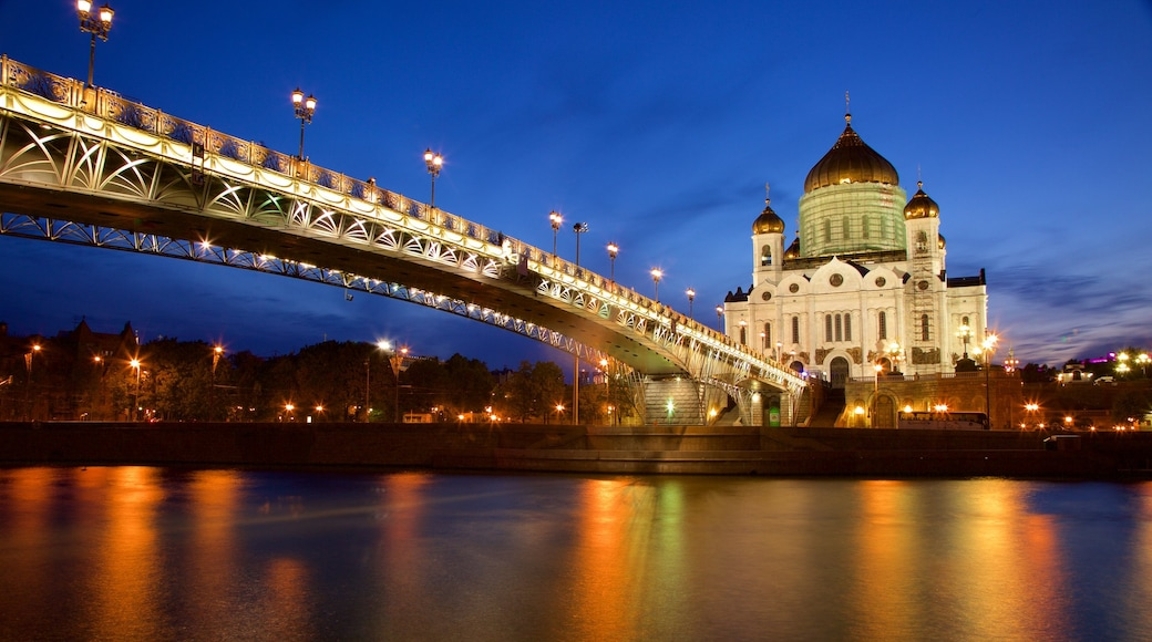 Cathedral of Christ the Savior which includes a river or creek, a bridge and heritage architecture