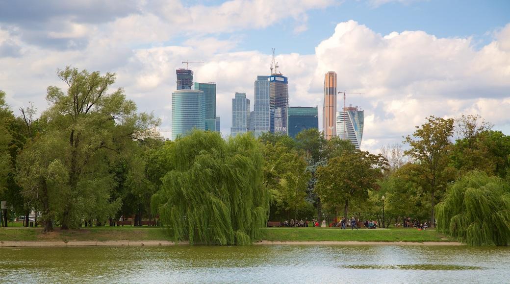 Moskau mit einem Stadt und Fluss oder Bach