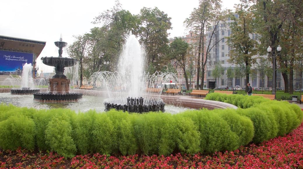 Puschkin-Platz welches beinhaltet Garten und Springbrunnen