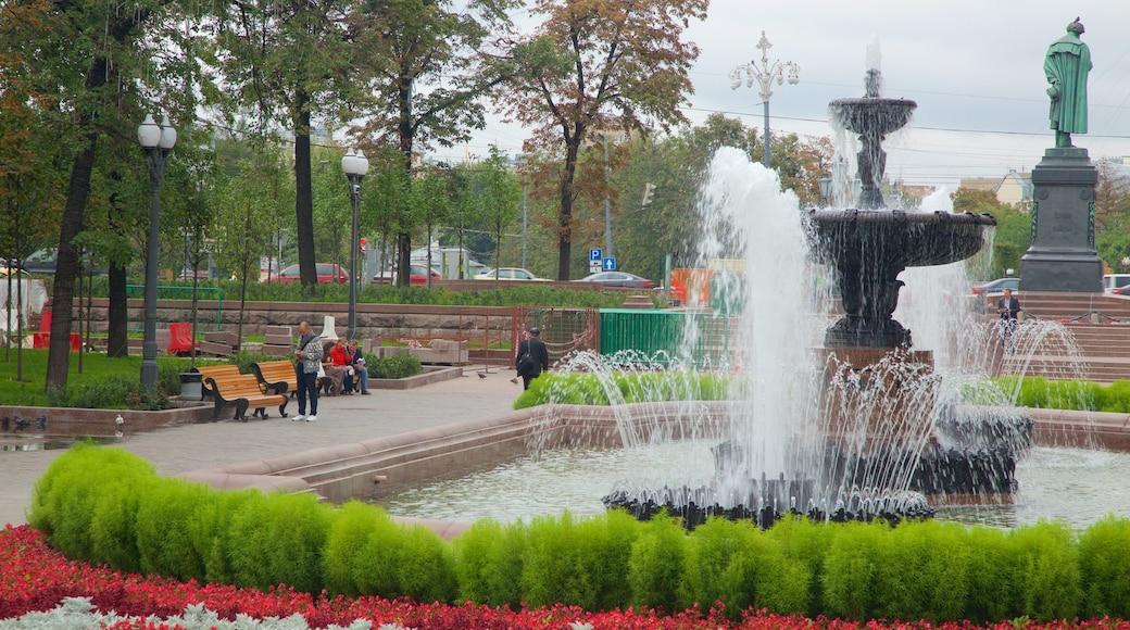 Puschkin-Platz welches beinhaltet Springbrunnen